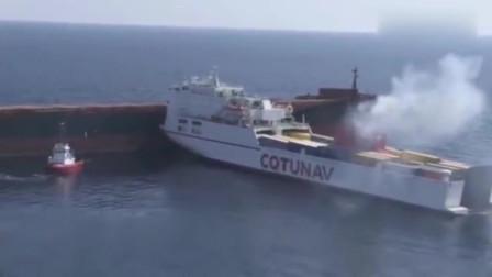 两艘巨轮垂直相撞,白船船头都快撞没了!磕磕碰碰心都滴血