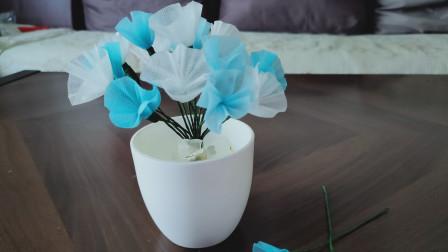 1分钟让【口罩】秒变漂亮的装饰花,太漂亮了,多做几朵放桌面当装饰