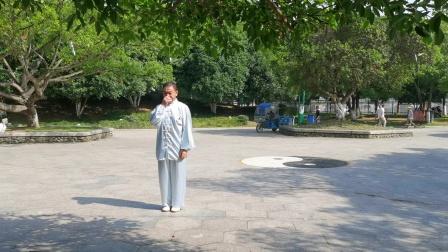 杨乃景于2O2O,年6月13日在公园示范陈氏56式太极拳。