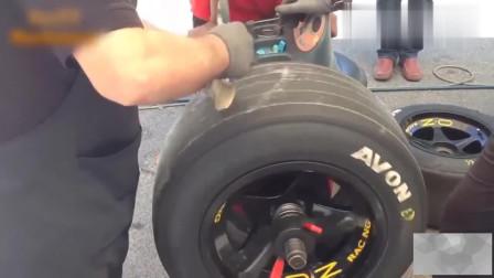 F1方程式赛车光头胎爆改雨胎过程,人工铲两下重塑好又能用了