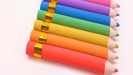 亲子早教认知色彩 用彩色太空沙制作彩笔