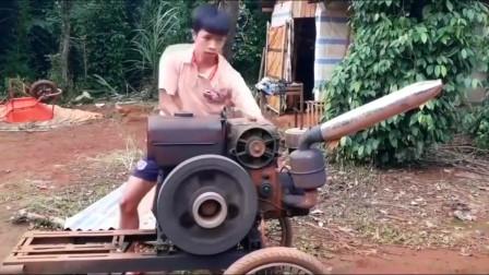 给柴油机换个摩托车排气筒,真能发出摩托车的声浪?