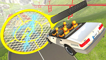 高速行驶的汽车遇上电蚊拍会怎样?3D模拟全过程,场面太硬核
