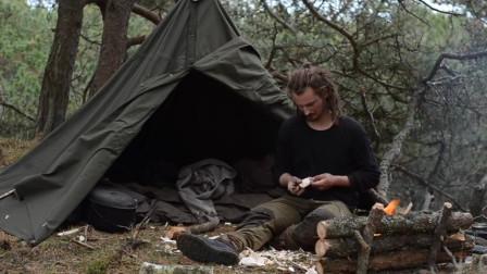 【全职野人】荒野的木工铁匠露营,维京后裔。-02. 6天单人,汤匙雕刻,芬兰斧头等