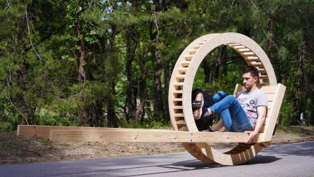 """牛人用木头制造""""单轮车"""",骑行的那一刻,惊艳才刚开始!"""