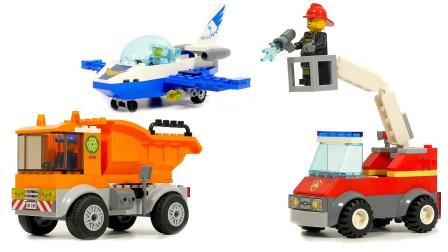 积木拼装消防车和救护车