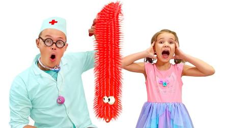 小女孩肚子疼,爸爸带她去看医生,结果从肚子里发现一条大虫子!