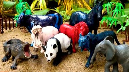拖拉机运来了各种动物 有狮子老虎大熊大象鳄鱼马牛熊猫