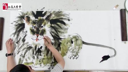 国画教学:大写意狮子的画法来了!潇洒威猛,适合男孩子学习!