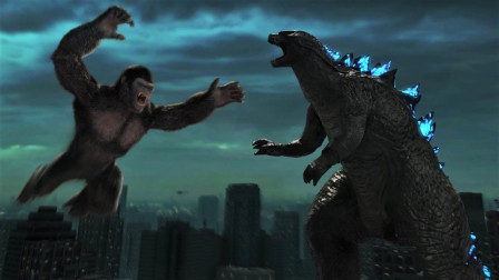 哥斯拉对决巨型猿猴,大战一触即发,场面无比激烈!
