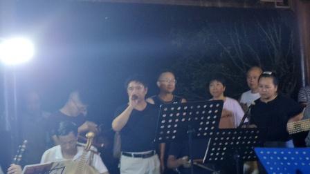 浦江婺剧严公禄在金丝湖演唱《姜维探营》