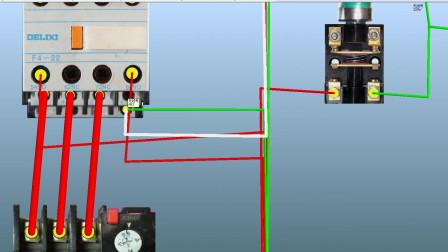 启动控制加延时停止电路仿真接线,电工必学
