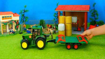 儿童汽车玩具视频 拖拉机给动物园运来了各种食物