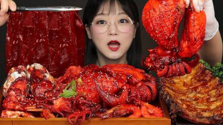 韩国妹子吃播Aejeong:今天吃爆辣海鲜羊排,中国宽粉太美味了!