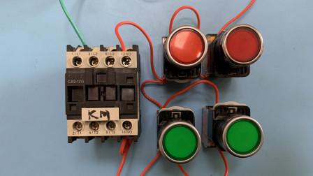 电工知识:2个地方控制一个接触器,接线步骤一一讲解,运行演示