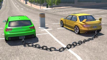一根链子上的汽车分道扬镳会怎样?3D演示全过程,场面太硬核