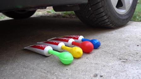 解压实验,汽车轮胎vs牙膏,自从买了车后,一切皆可压