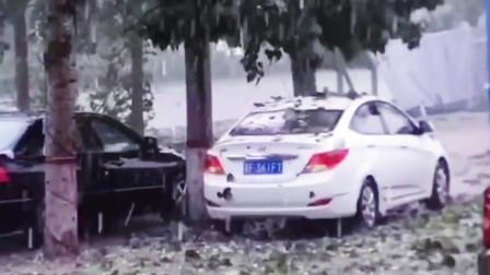 监控:实拍保定特大冰雹,愿保定人民安然无恙,可惜了这么多豪车