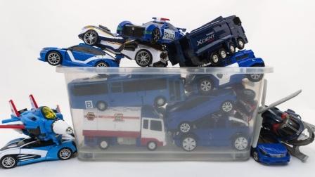 蓝色你好卡博托博恐龙汽车机器人变换播放汽车机器人