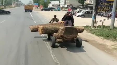 农村人拉木头,看清啥车后我服了,高手在民间!