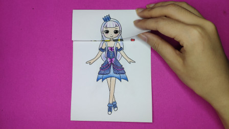 用一张纸手绘精灵梦叶罗丽白光莹变换歌姬长相,来回变身太美了