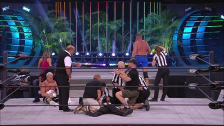 AEW勇士节第一晚:前WWE世界冠军赛后痛打裁判,场面一度险些失控