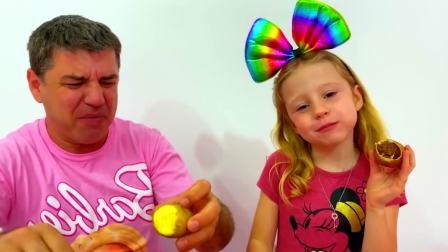 美国儿童时尚,哥哥姐姐在尝试小萝莉做的新款糖果故事,真有趣呀