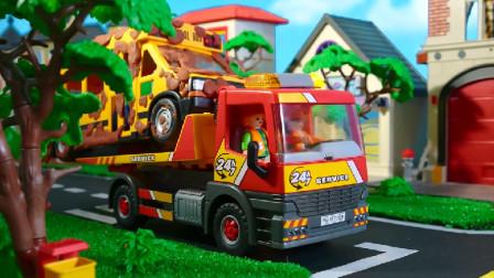 校车前往儿童玩具洗车场