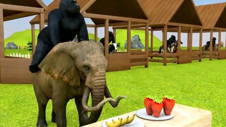 大猩猩骑着大象吃下草莓变彩色 动物世界