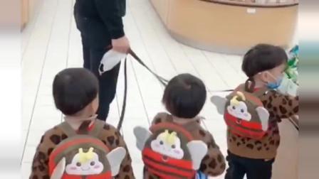 宝爸一个人带三胞胎逛超市,看着是真的太难了!