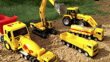 挖掘机,推土机油罐车翻斗车水泥搅拌车大卡车装载沙子!