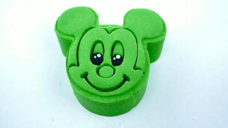 用太空沙彩泥制作米奇头像蛋糕 创意玩具