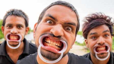 撑大嘴巴吃东西是啥体验?熊孩子好奇一试,画面超搞笑!