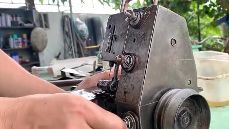 修复缝包机,一块废铁硬生生修成收藏品