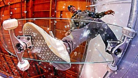 钢化玻璃做的滑板玩起来有多刺激?老外亲测,网友:帅不过三秒!