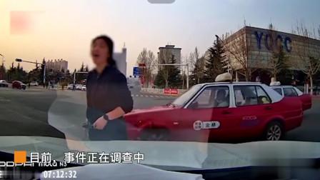 山西一女子闯红灯,车主被迫急刹车:我全险该撞死你!