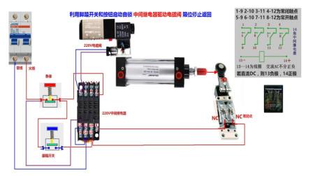 电工知识:中间继电器控制电磁阀工作原理,实物讲解,运行演示