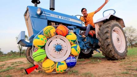 """老外突发奇想,给拖拉机换上""""橄榄球""""轮胎,启动瞬间太刺激!"""