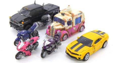 变形金刚2大黄蜂 1冰淇淋卡车挡泥板滑铁皮汽车机器人玩具.