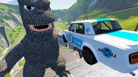 """""""哥斯拉""""能成功拦截高速汽车吗?3D动画模拟,全程高能不间歇!"""