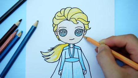 儿童创意简笔画:手绘迪士尼《冰雪奇缘》Q版艾莎公主,可爱