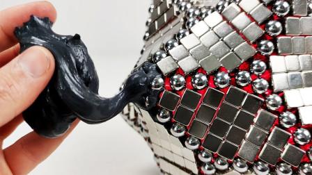当钕磁铁和巴克球遇上磁泥会怎样?老外亲测,网友:太神奇了!