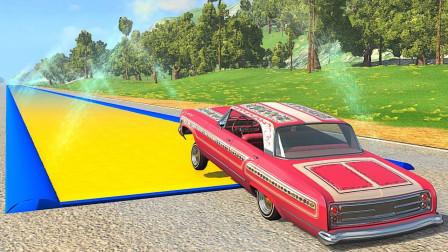 高速汽车能冲过强力胶跑道吗?3D动画模拟,全程刺激不断!