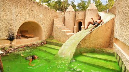 """小伙野外建造地下城堡,竟还自带""""水上滑梯"""",跳下那一刻太舒适!"""
