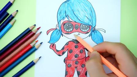 儿童创意简笔画:手绘《瓢虫少女》变身后的Q版瓢虫雷迪