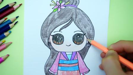 儿童创意简笔画:手绘迪士尼Q版花木兰公主,可爱吗?