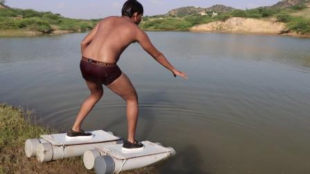 """男子发明""""漂浮鞋"""",能在水面行走吗?下一秒我憋不住了!"""