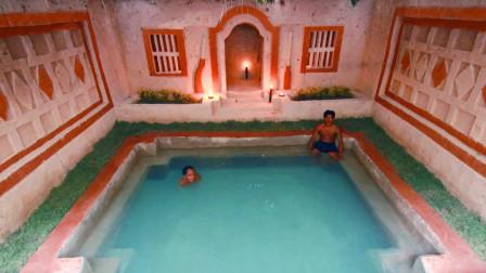 小伙在野外徒手掏出豪华泳池,还有能睡觉的隔间,网友:避暑胜地!