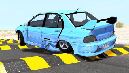 高速汽车通过100个减速带会怎样?3D动画模拟,全程高能又刺激!