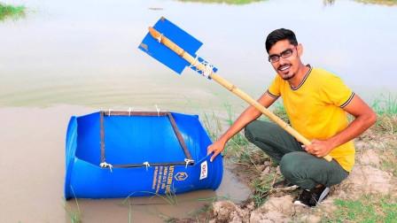 用塑料桶打造的船能下水吗?老外冒险一试,结果让人难以置信!